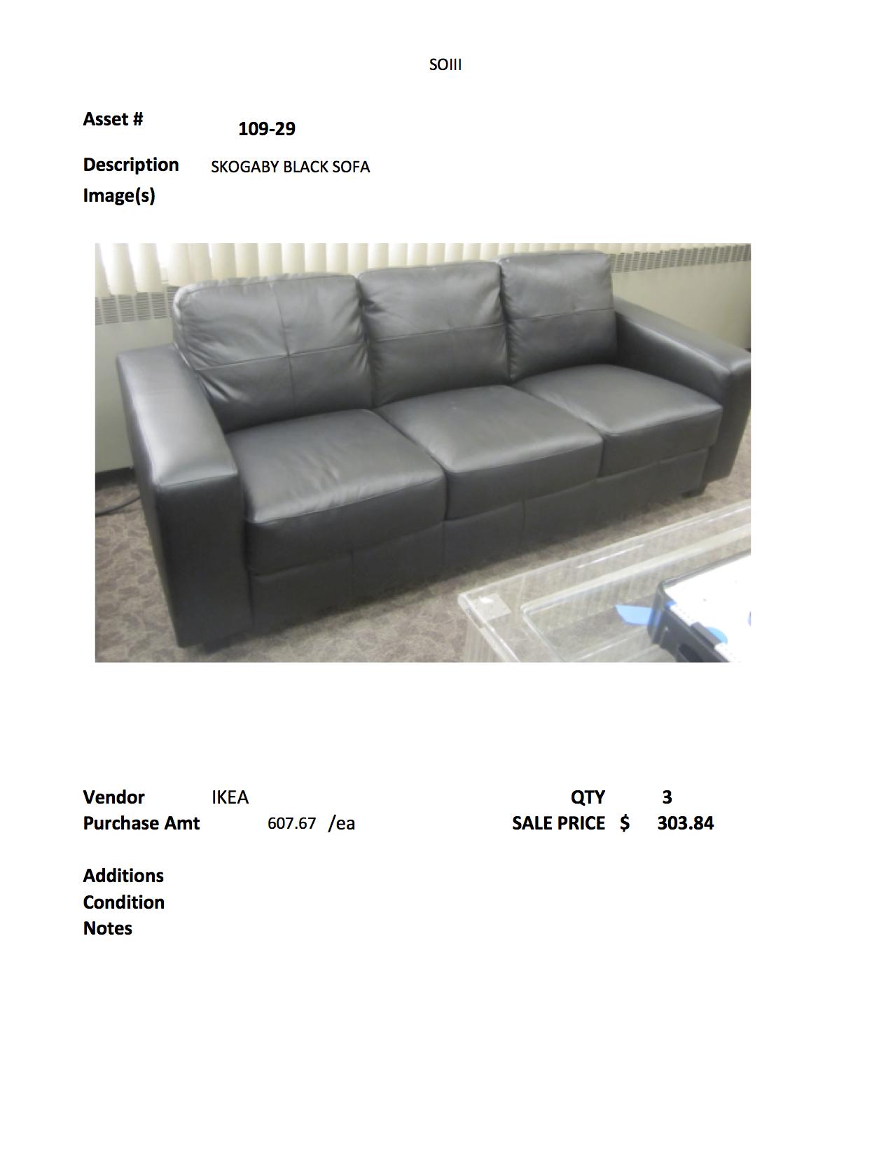 109 29 Black Leather Ikea Skogaby Sofa