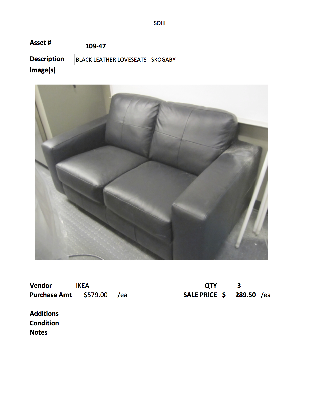 109 47 Black Leather Skogaby Ikea Loveseats Twows Set Sale